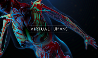 skelet met tekst 'virtual humans'